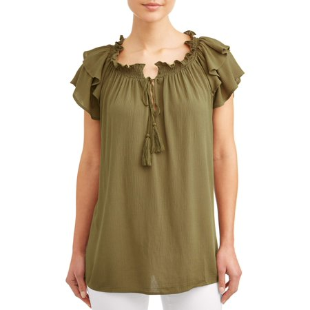 Women's Ruffle Short Sleeve Peasant Top (Floral Silk Peasant Top)