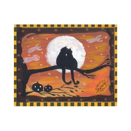 Two Cat in Full Moon halloween Night Print Wall Art By sylvia pimental - Halloween Art Prints