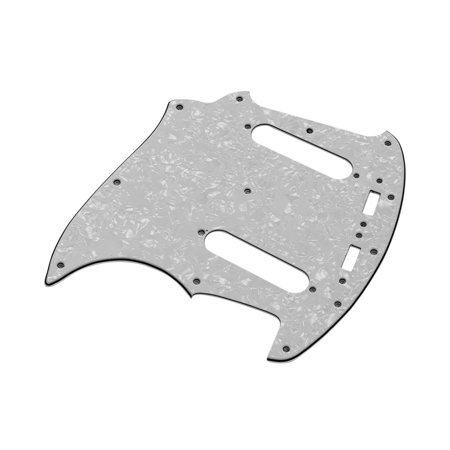3 Ply PVC Electric Guitar Pickguard with 2 Single Coil Pickup Hole for Mustang MG69 Guitar Replacement Part White
