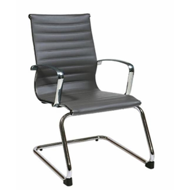 Office Star-OSP Furniture 74652 Grey Eco Leather Guest Chair with Polished Aluminum Arms and Sled Base