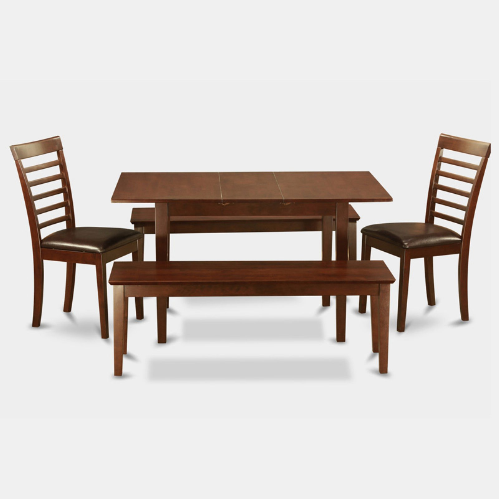 East West Furniture Norfolk 5 Piece Straight Ladder Back Dining Table Set  With 2 Benches