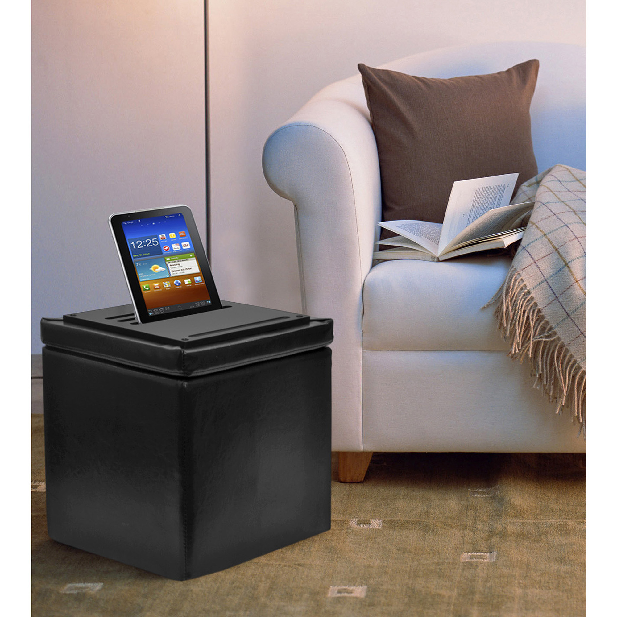 Urban Shop 3-in-1 Tablet Storage Ottoman, Multiple Colors