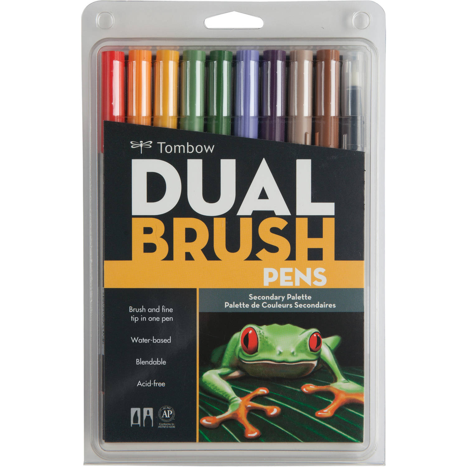 Tombow Dual Brush Pen Art Markers, 10-Pack, Secondary