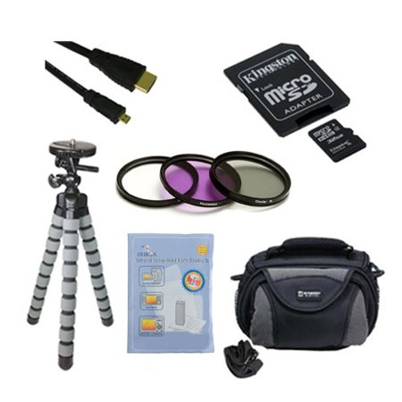 Samsung Galaxy NX Digital Camera Accessory Kit includes: SDC4/32GB Memory Card, GBFLK58 Filter/ Adapter, HDMI6FMC AV & HDMI Cable, ZELCKSG Care & Cleaning, GP-22 Tripod, SDC-26 Case ()