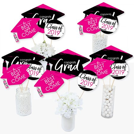 Pink Grad - Best is Yet to Come - 2019 Pink Graduation Party Centerpiece Sticks - Table Toppers - Set of