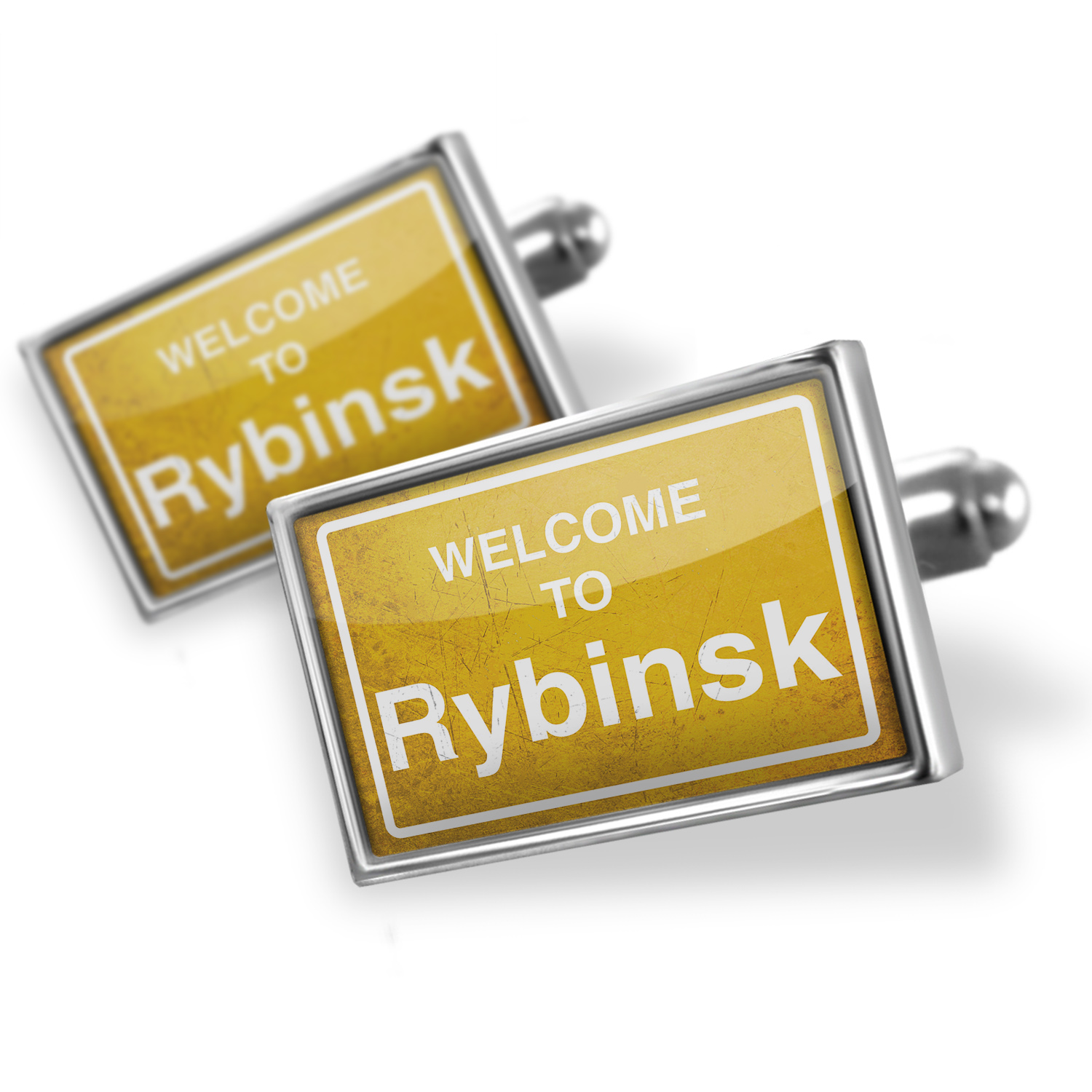 Cufflinks Yellow Road Sign Welcome To Rybinsk - NEONBLOND