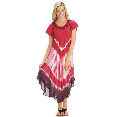 - Women's Easy-to-Wear Vibrant Tie Dye Cap Sleeve Summer Dress, X-Large/Xx-Larg, Coral