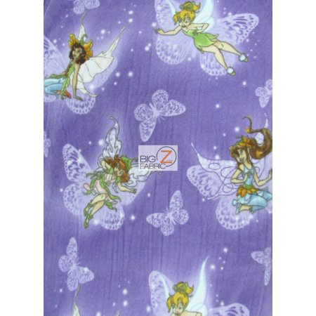 Fleece Printed Fabric / Fairies And Butterflies Tinker Bell By Springs Creative / Sold By The Yard (Tinkerbell Fabric)