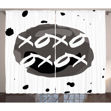 Xo Curtains 2 Panels Set, Circular Formless Shaped Hugs and Kisses Message with Ink Drops Design Print, Window Drapes for Living Room Bedroom, 108W X 108L Inches, Charcoal Grey Black, by