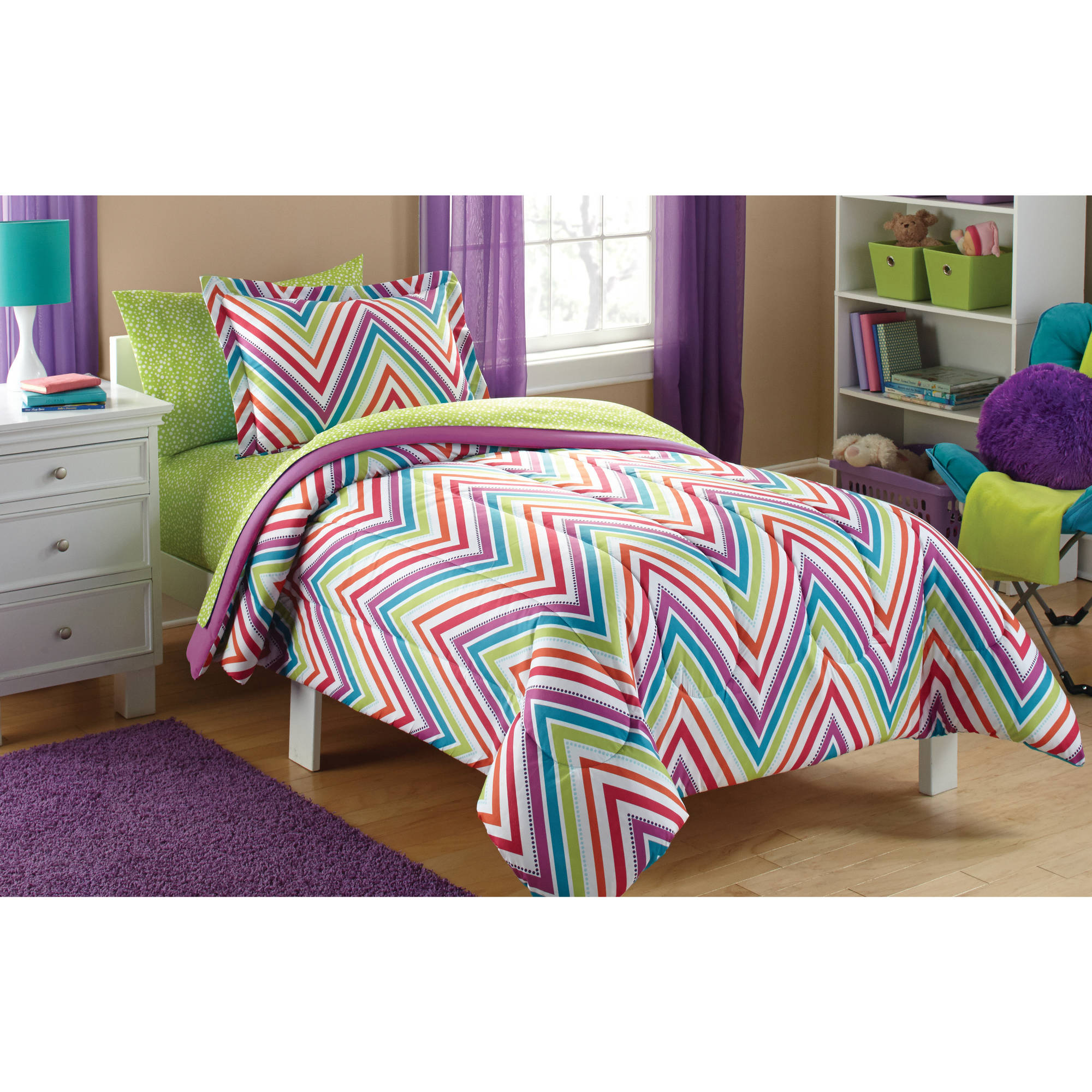 Mainstays Kids' Chevron Coordinated Bed in a Bag