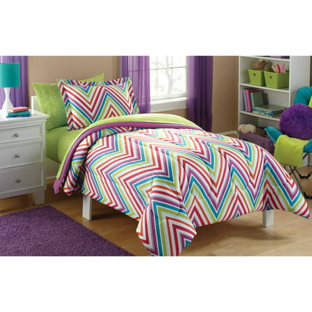 mainstays kids 39 chevron coordinated bed in a bag. Black Bedroom Furniture Sets. Home Design Ideas