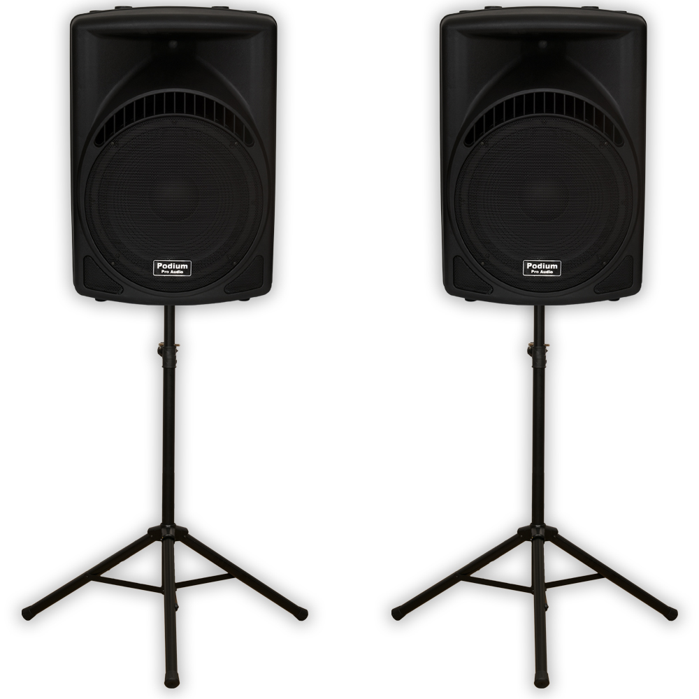 "Podium Pro PP1504CA Powered 1800W Active 15"" MP3 Speakers and Stands DJ PP1504CASET1"
