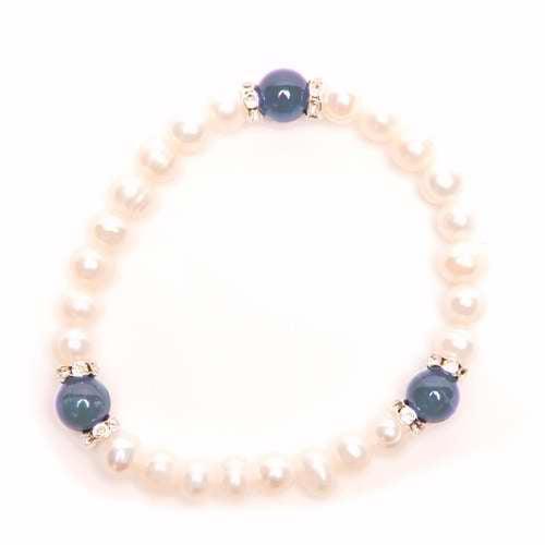 Bracelet-Jolie-Genuine Pearls & Lapis-Stretch