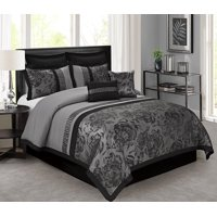Unique Home 8 Piece Tang Clearence Jacquard Fabric Patchwork Comforter Set Queen Size (Gray)