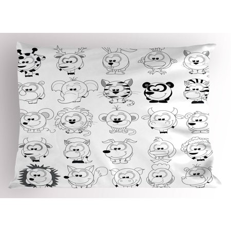 Doodle Pillow Sham Assortment of Cartoon Style Animals Cat Zebra Girraffe Pig Panda Monkey Animal Fun, Decorative Standard Size Printed Pillowcase, 26 X 20 Inches, Black White, by Ambesonne (Panda Sheets)