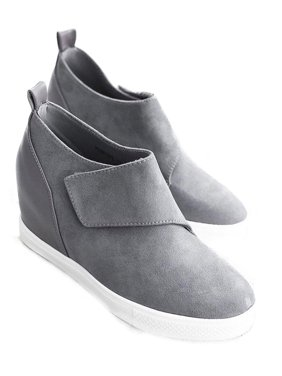 Womens Platform Wedge Heel Slip On Sneaker Loafer Shoes