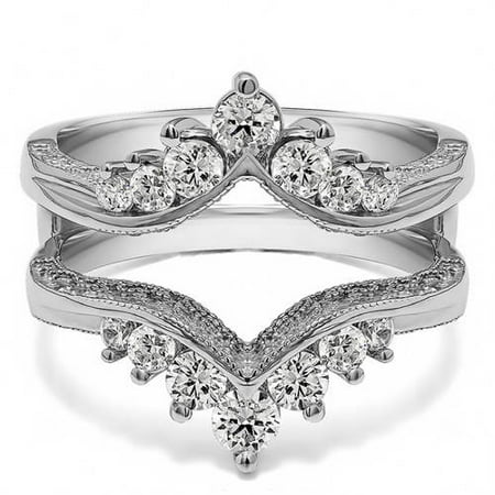 Personalized Women's Chevron Style Ring Guard with Millgrained Edges and Filigree Cut-Out Design
