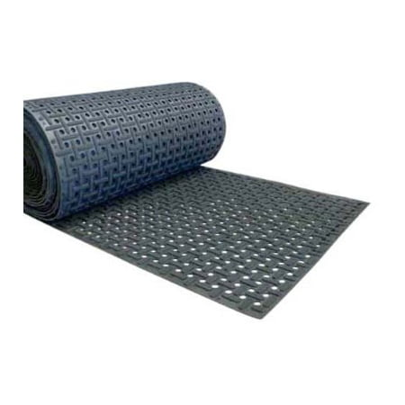 "Rubber-Cal ""Paw-Grip"" 100% Nitrile Non-Slip Rubber Matting - 3/8 in x 34 in x 9 ft - Black"