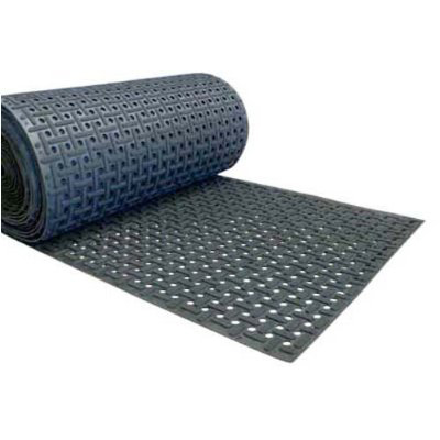 "Rubber-Cal ""Paw-Grip"" 100% Nitrile Non-Slip Rubber Matting - 3/8 in x 34 in x 3 ft - Black"