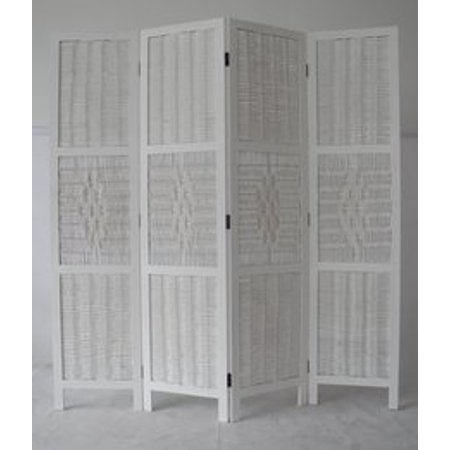 Legacy Decor 4 Panel Bamboo And Wood Screen Room Divider Weave Design With A Diamond Shaped Accent White Color