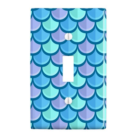 Mermaid Fish Scale Pattern Plastic Wall Decor Toggle Light Switch Plate Cover Light Switch Covers Kids