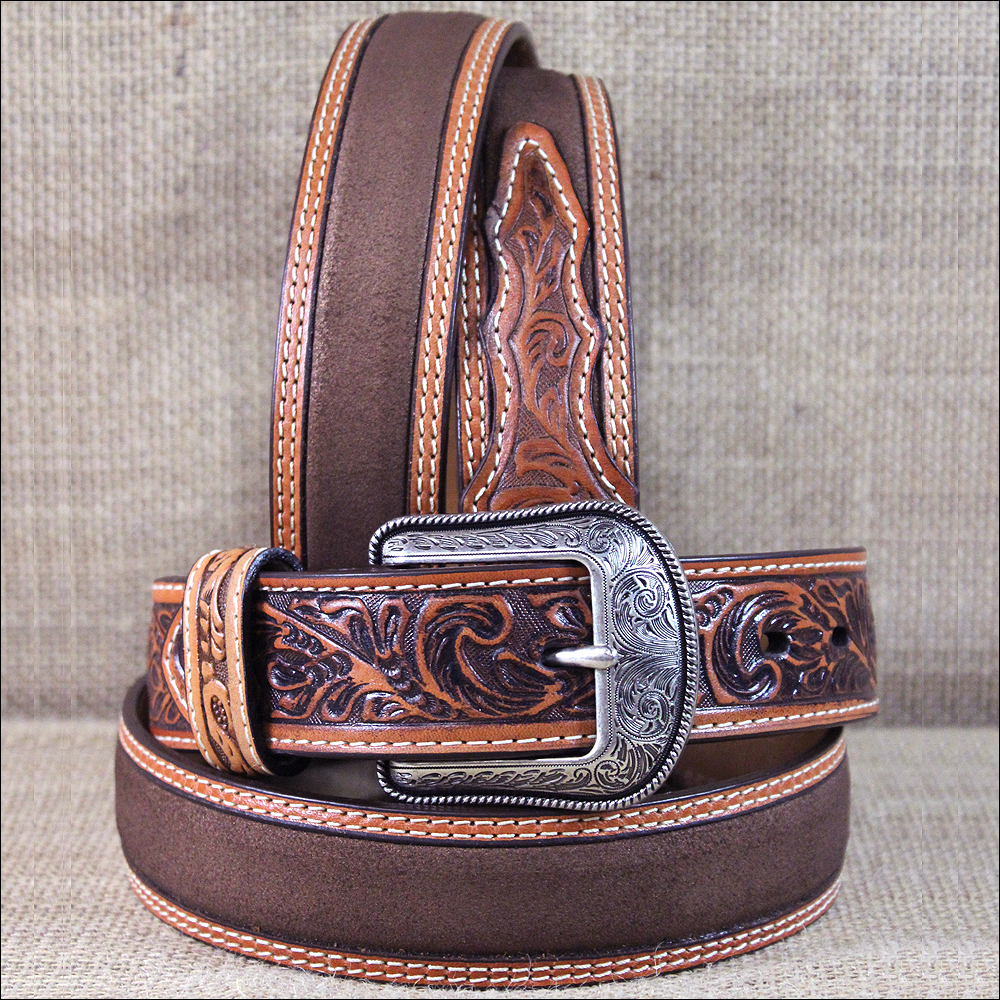 Western Fashion Accessories Mens Roughout Leather Belt