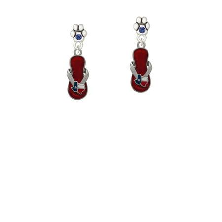 Austrian Crystal Flip Flop - Texas Flip Flop - Blue Crystal Paw Earrings