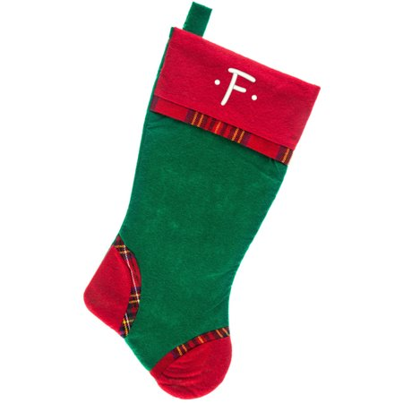 Plaid Christmas Stocking (Monogrammed Christmas Stocking, Green Felt with Plaid Trim and Red Cuff with Kids Embroidered)