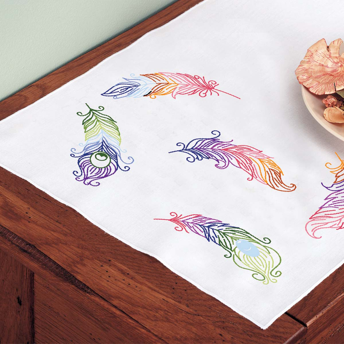 Herrschners® Fanciful Feathers Dresser Scarf Stamped Embroidery