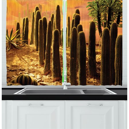 Cactus Curtains 2 Panels Set, Sunset in the Wild Nature Hot Desert Botanic Mexican Trees Leaves Sand Photo Image, Window Drapes for Living Room Bedroom, 55W X 39L Inches, Multicolor, by Ambesonne](The Living Desert Halloween)