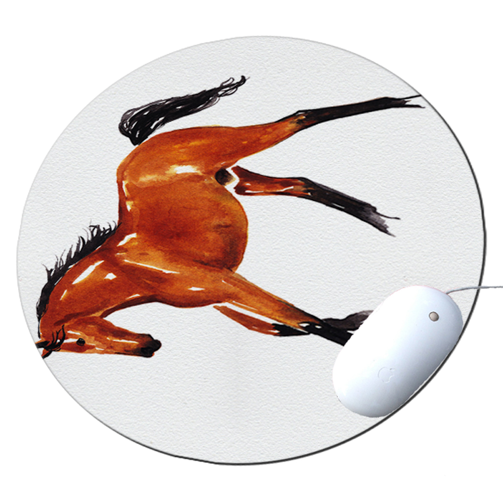 KuzmarK Round Mousepad / Hot Pad / Trivet - Abstract Bay Warmblood Horse Equine Art by Denise Every