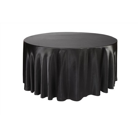 120 Round Tablecloth (Your Chair Covers - 120 inch Round Satin Tablecloth Black for Wedding, Party, Birthday, Patio,)