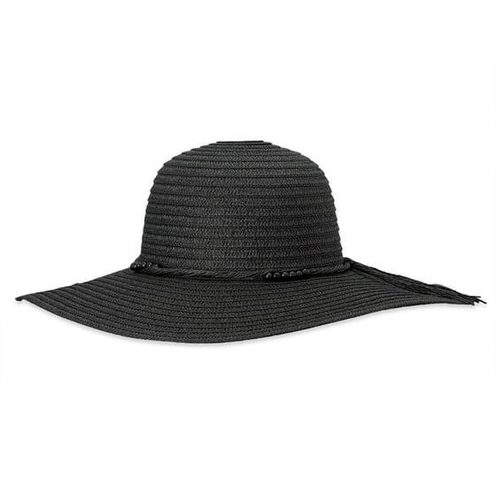 36de0d104 DEBRA WEITZNER Beach Straw Floppy Hat For Women Wide Brim - Sun Protection  - Packable Foldable Summer Sun hat For Ladies - Black