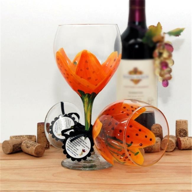 Judi Painted it STR-TIG Tiger Lilly Painted Wine Glass, Orange