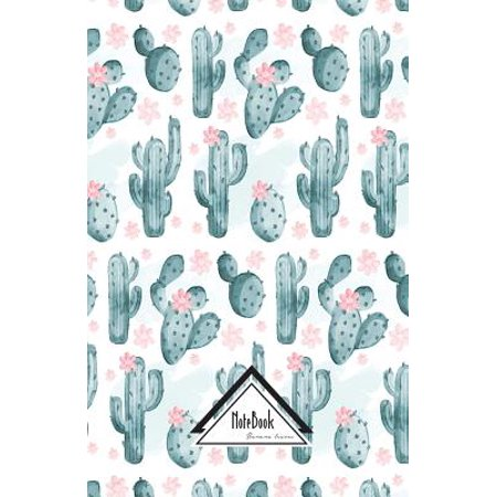 Notebook Journal Bullet Dotted Grid, Graph Line : Light Pink Nature Green Cactus Watercolor Pattern: Journal to Write In, Small Pocket Notebook Journal Diary, 120 Pages, 5.5 X 8.5 ()