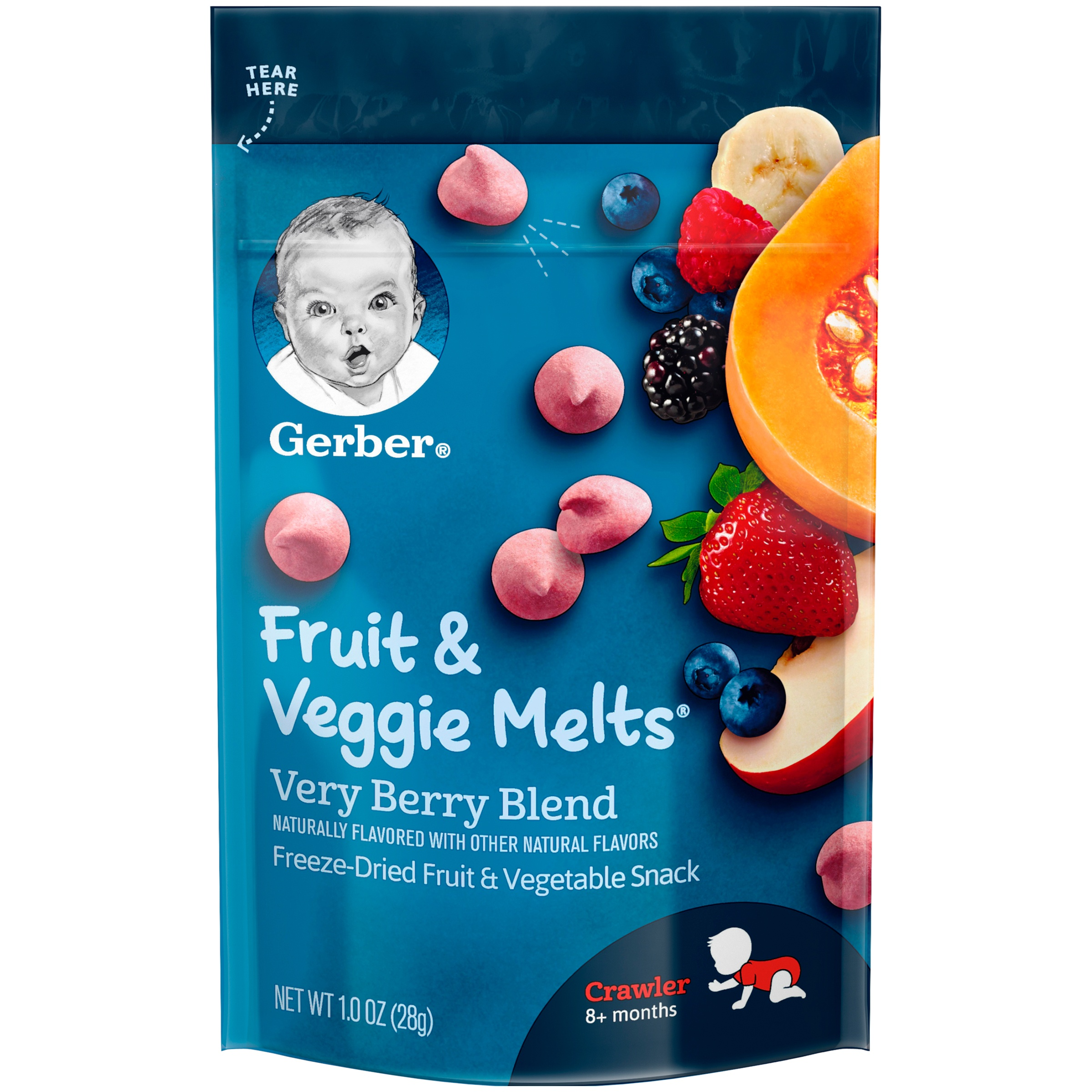 Gerber Fruit & Veggie Melts Freeze-Dried Fruit and Vegetable Snacks, Very Berry Blend, 1 oz