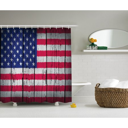 Rustic decor american usa flag shower curtain set fourth for Looking for bathroom accessories