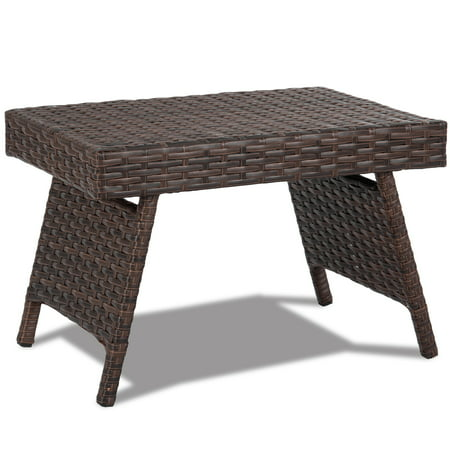 Outdoor Wicker Table Patio,Coffee Table Side Table,Steel Frame Wicker Antique Coffee Table
