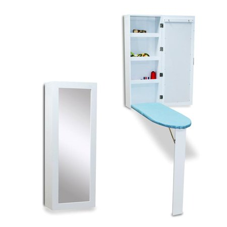 Wall Mounted Ironing Board Cabinet (Organizedlife White Hide Away Ironing Board Center Cabinet Wall Mount with Mirrored)