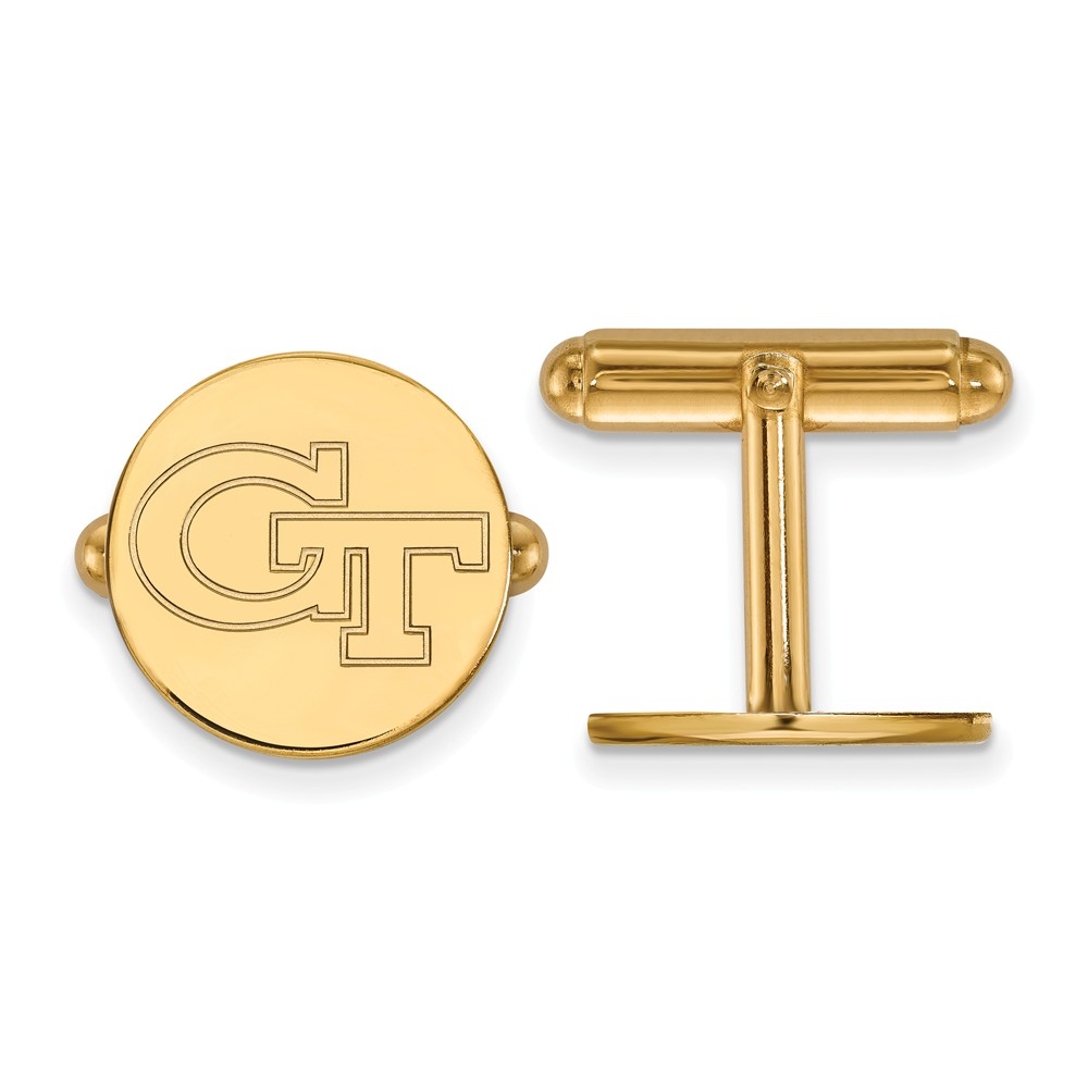 Solid 925 Sterling Silver with Gold-Toned Georgia Institute of Technology Cuff Links (15mm x 15mm)