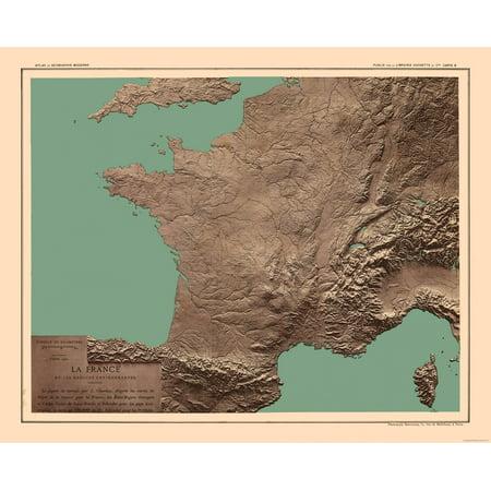 International Map - France - Relief - Schrader 1908 - 28.45 x 23
