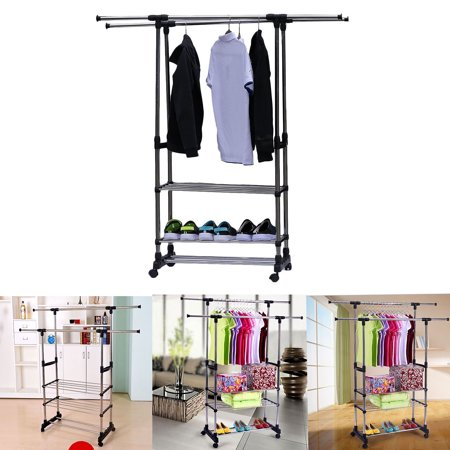 - veryke Garment Racks for Clothes, Black Stainless Steel Garment Racks with Wheels, Horizontal & Vertical Adjustable 3-Tier Rolling Garment Rack with Double Clothes Rods for Home Bedroom Laundryroom