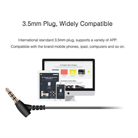 3.5mm In-ear Magnetic Adsorption Earphone Bass Stereo Noise Isolating Headphone With Mic for Smartphones Computers - image 2 de 10