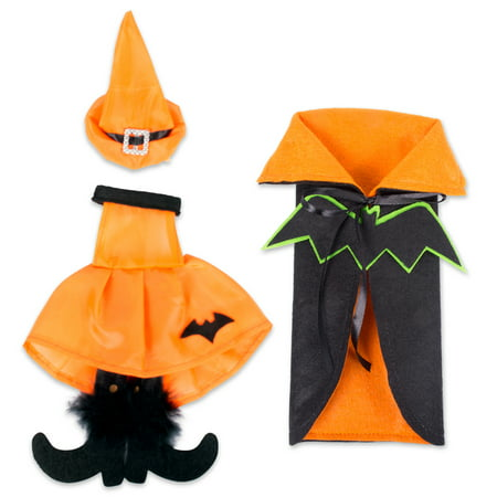 E-Living Halloween Wine Bottle Covers, Black & Orange Bat Cape w/ Orange Witch Outfit