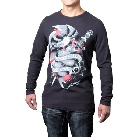 - Ed Hardy Men's Pierced Hearts Long Sleeve Thermal Graphic Tee