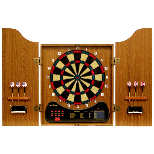 Arachnid Electronic Dartboard in Walnut Finish Wood Cabinet ...