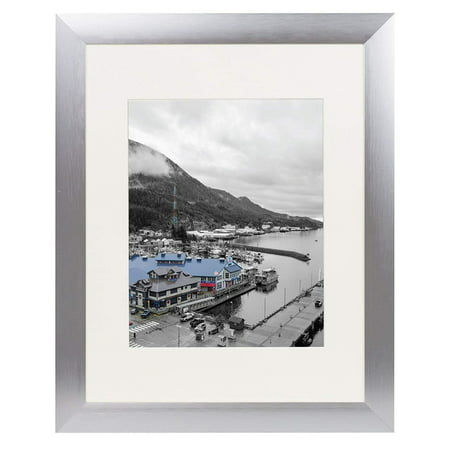 Golden State Art, 11x14 Satin Silver Color Brushed Aluminum Landscape Or Portrait Photo Picture Frame With Ivory Color Mat and Real - Indoor Satin Aluminum Frame