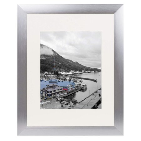 Silver Rim Picture Frame - Golden State Art, 11x14 Satin Silver Color Brushed Aluminum Landscape Or Portrait Photo Picture Frame With Ivory Color Mat and Real Glass