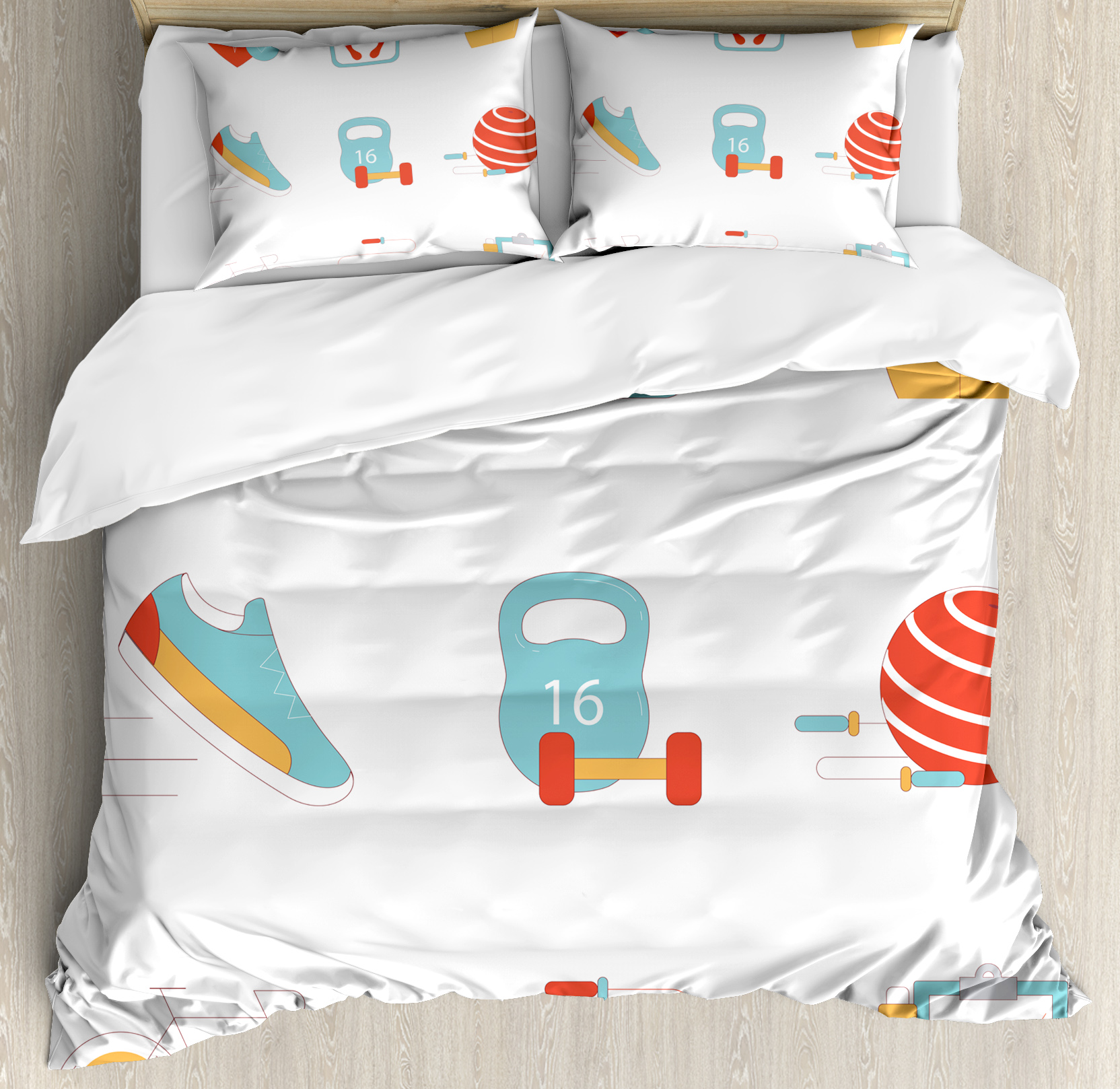 Fitness Queen Size Duvet Cover Set, Slimming Losing Weight Themed Icons Tape Measure Jogging Bicycle Rope, Decorative 3 Piece Bedding Set with 2 Pillow Shams, Light Blue Red White, by Ambesonne