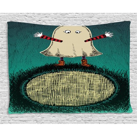 Ghost Tapestry, Sketchy Doodle Design with a Funny Kid in a Ghost Costume for the Halloween Holiday, Wall Hanging for Bedroom Living Room Dorm Decor, 80W X 60L Inches, Multicolor, - Designs For Halloween